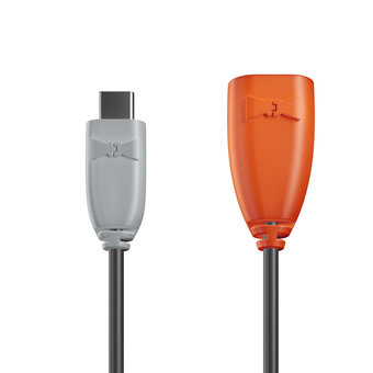 Câble USB Type C vers A femelle 1m Gris, Noir et Orange (marquage image «swrebels»)