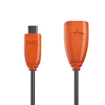 Câble USB Type C vers A femelle 1m Orange et Noir (sans marquage)