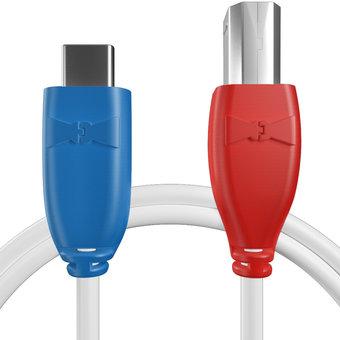 Câble USB Type C vers B 1m Bleu, Blanc et Rouge (sans marquage)