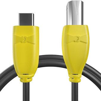 Câble USB Type C vers B 1m Jaune et Noir (marquages image «phone» & image «musicnotes»)