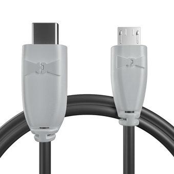 Câble USB Type C vers Micro Gris et Noir - 50cm