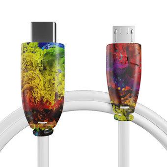Câble USB Type C vers Micro Multicouleurs et Blanc - 50cm