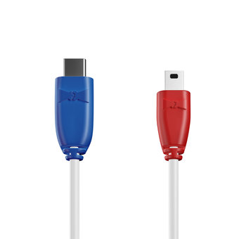 Câble USB Type C vers Mini 1m Bleu, Blanc et Rouge (sans marquage)