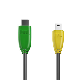 Câble USB Type C vers Mini 1m Vert, Noir et Jaune (marquage motif «avocado»)