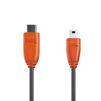 Câble USB Type C vers Mini 1m Orange et Noir (sans marquage)
