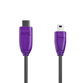 Câble USB Type C vers Mini 1m Violet et Noir (marquage texte «JE SUIS|À PAPA»)