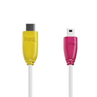 Câble USB Type C vers Mini 1m Jaune, Blanc et Rose (marquages motif «banana» & motif «banana»)
