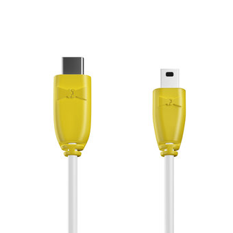 Câble USB Type C vers Mini 1m Jaune et Blanc (marquages image «ananas» & image «ananas»)