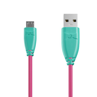 Câble Micro USB 1m Bluemint et Rose (marquages texte «Sing|Sing !» & image «microphone»)