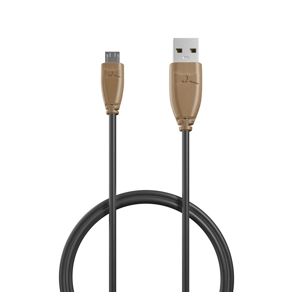 Câble Micro USB 1m Beige et Noir (sans marquage) - Vue câble