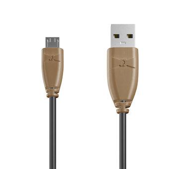 Câble Micro USB 1m Beige et Noir (sans marquage)