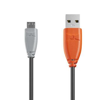 Câble Micro USB 1m Gris, Noir et Orange (marquage image «swrebels»)