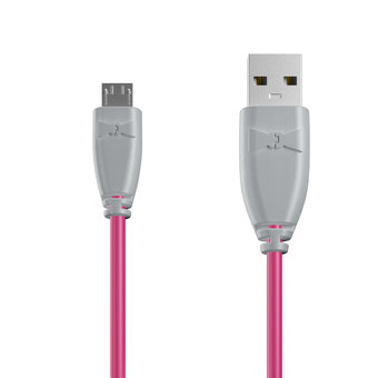 Câble Micro USB 1m Gris et Rose (marquages image «shell» & image «shell»)