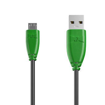 Câble Micro USB 1m Vert et Noir (marquages image «spaceinvader» & image «spaceinvader»)