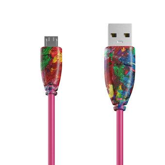 Câble Micro USB 1m Multicouleurs et Rose (sans marquage)