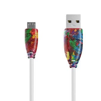 Câble Micro USB 1m Multicouleurs et Blanc (sans marquage)