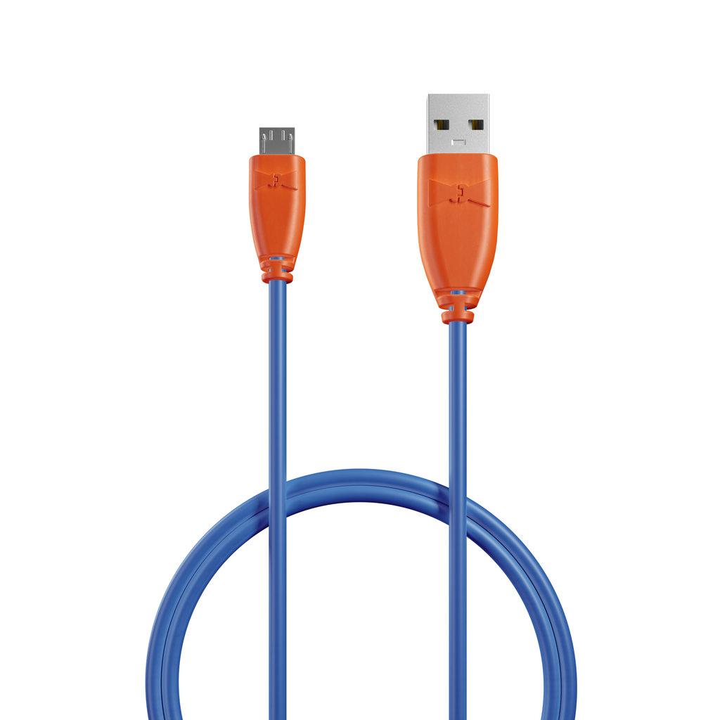 Câble Micro USB 1m Orange et Bleu (sans marquage) - Vue câble