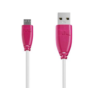 Câble Micro USB 1m Rose et Blanc (marquages image «flamantrose» & image «flamantrose»)