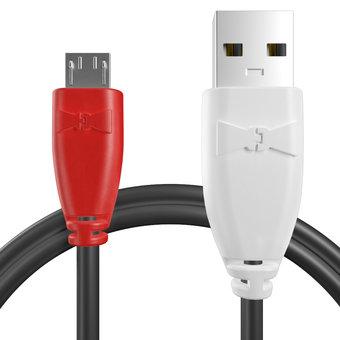 Câble Micro USB 1m Rouge, Noir et Blanc (marquage image «guitar»)