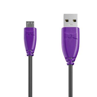 Câble Micro USB 1m Violet et Noir (marquage texte «JE SUIS|À PAPA»)