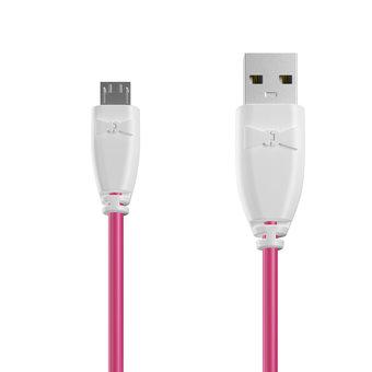 Câble Micro USB 1m Blanc et Rose (sans marquage)