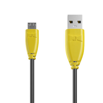 Câble Micro USB 1m Jaune et Noir (marquage image «djplatine»)