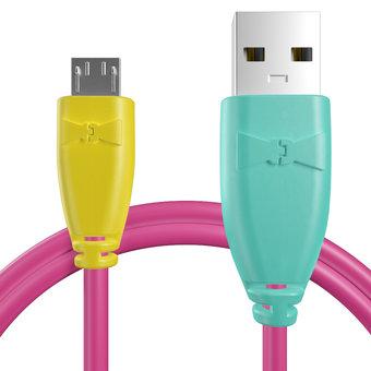 Câble Micro USB 1m Jaune, Rose et Bluemint (marquages motif «dot» & motif «dot»)
