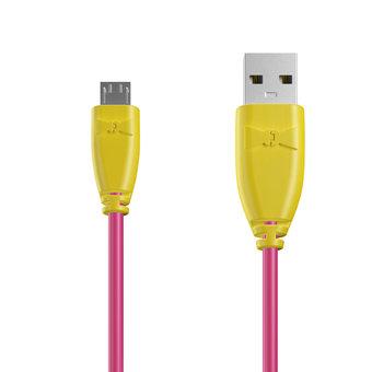 Câble Micro USB 1m Jaune et Rose (sans marquage)