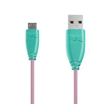 Câble Tissu Micro USB 1m Bluemint et Tissu rose gold (marquages motif «stars» & motif «stars»)
