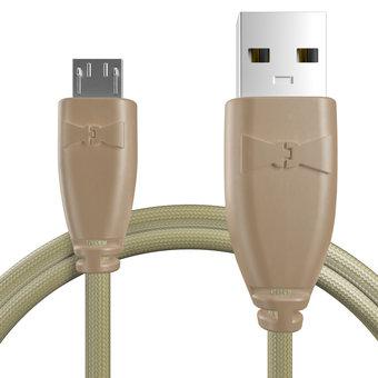 Câble Micro USB tressé 1m Beige et Tissu beige (marquages motif «camouflage» & motif «camouflage»)