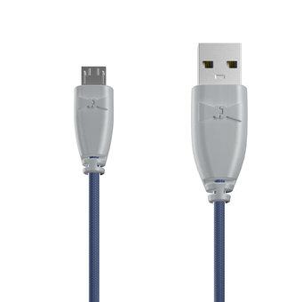Câble Tissu Micro USB 1m Gris et Tissu bleu indigo (marquages motif «passport» & motif «map»)