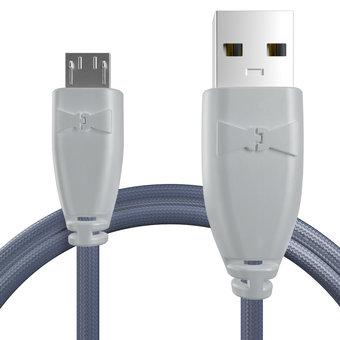 Câble pour Lenovo K3 Note Gris et Tissu bleu indigo - 50cm