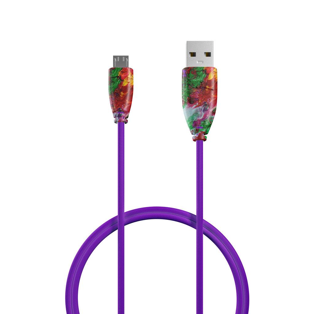 Câble Tissu Micro USB 1m Multicouleurs et Tissu violet (sans marquage) - Vue câble