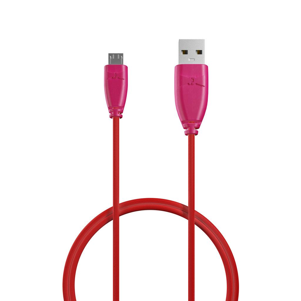 Câble Tissu Micro USB 1m Rose et Tissu rouge (marquages image «rose» & image «rose») - Vue câble
