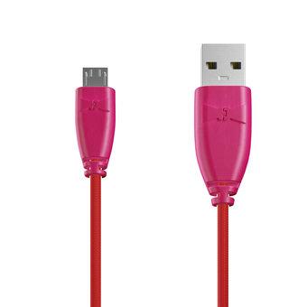Câble Tissu Micro USB 1m Rose et Tissu rouge (marquages image «rose» & image «rose»)