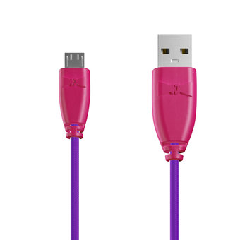 Câble Tissu Micro USB 1m Rose et Tissu violet (marquages image «heart» & image «kiss»)