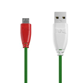 Câble Tissu Micro USB 1m Rouge, Tissu vert et Blanc (marquage motif «pizza»)