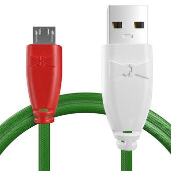Câble pour Celkon A77 Rouge, Tissu vert et Blanc - 50cm