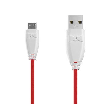 Câble Tissu Micro USB 1m Blanc et Tissu rouge (marquages texte «Love U» & image «rose»)