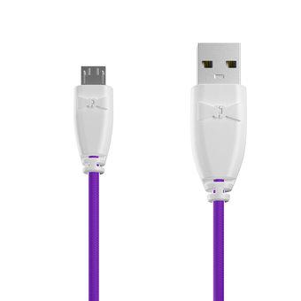 Câble Tissu Micro USB 1m Blanc et Tissu violet (marquages motif «unicorns» & motif «unicorns»)