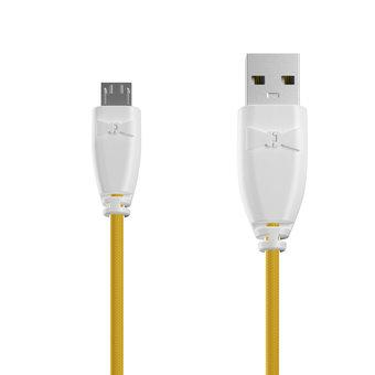 Câble Tissu Micro USB 1m Blanc et Tissu bouton d'or (marquages motif «bubble» & motif «bubble»)