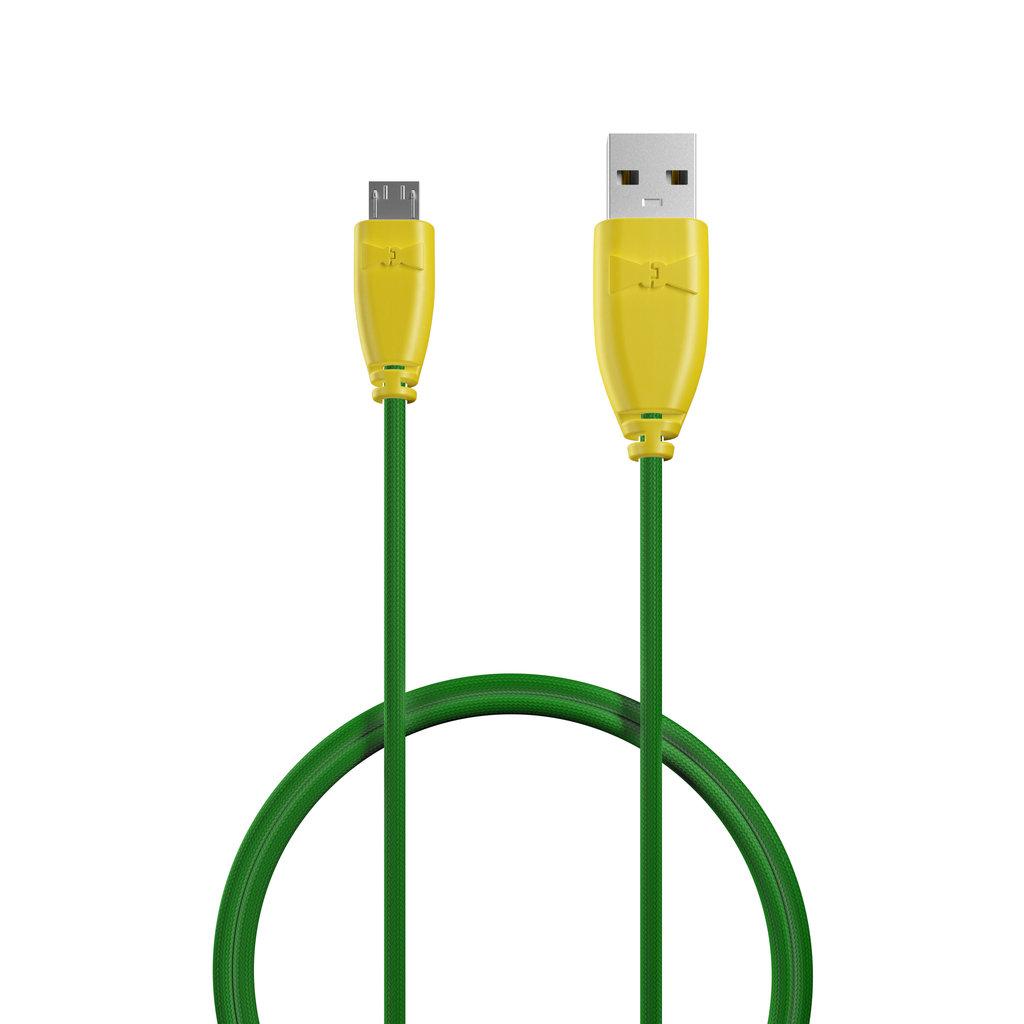 Câble Tissu Micro USB 1m Jaune et Tissu vert (marquages motif «avocado» & motif «avocado») - Vue câble