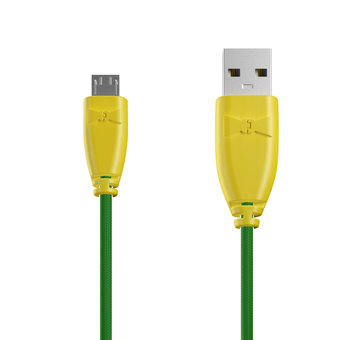 Câble Tissu Micro USB 1m Jaune et Tissu vert (marquages motif «avocado» & motif «avocado»)