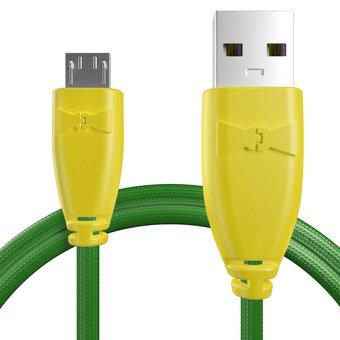 Câble pour Celkon A77 Jaune et Tissu vert - 50cm