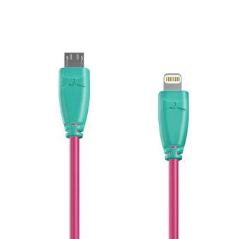 Câble OTG (Type Micro vers Lightning) 1m Bluemint et Rose (marquages image «cactus» & image «cactus»)