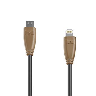 Câble OTG (Type Micro vers Lightning) 1m Beige et Noir (sans marquage)