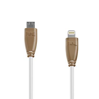 Câble OTG (Type Micro vers Lightning) 1m Beige et Blanc (marquages motif «wood» & motif «wood»)