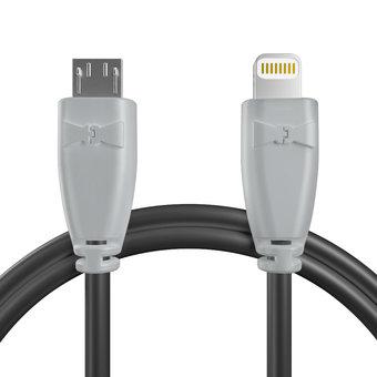 Câble OTG (Type Micro vers iPhone·iPad) Gris et Noir - 20cm
