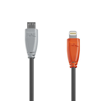 Câble OTG (Type Micro vers Lightning) 1m Gris, Noir et Orange (marquage image «swrebels»)