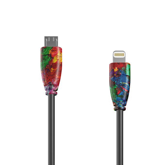 Câble OTG (Type Micro vers Lightning) 1m Multicouleurs et Noir (sans marquage)